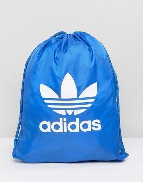 adidas Originals 愛迪達 三葉草 藍色 藍白 基本款 束口袋 拉鍊 後背包 BJ8358