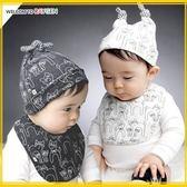 帽子  可愛滿版貓咪圖案寶寶帽+圍兜 二件組