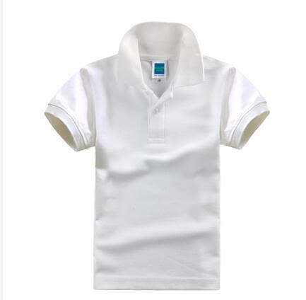 男女童夏裝純白色翻領純棉半袖polo衫短袖T恤PLL3666【男人與流行】