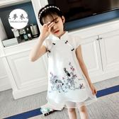 女童旗袍 童裝女童旗袍夏季新款兒童中大童公主裙潮中國風小女孩連衣裙