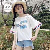 T恤秋季新款女裝韓版學生寬鬆壓褶袖長袖印花雪紡衫短袖T恤上衣 雙11返場八四折