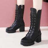 英倫風馬丁靴女粗跟高跟鞋黑色帥氣系帶機車靴新款中筒拉鏈騎士靴 8號店