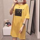 【GZ45】長版上衣 簡約字母印花短袖t恤 韓版寬鬆百搭短袖上衣 洋裝