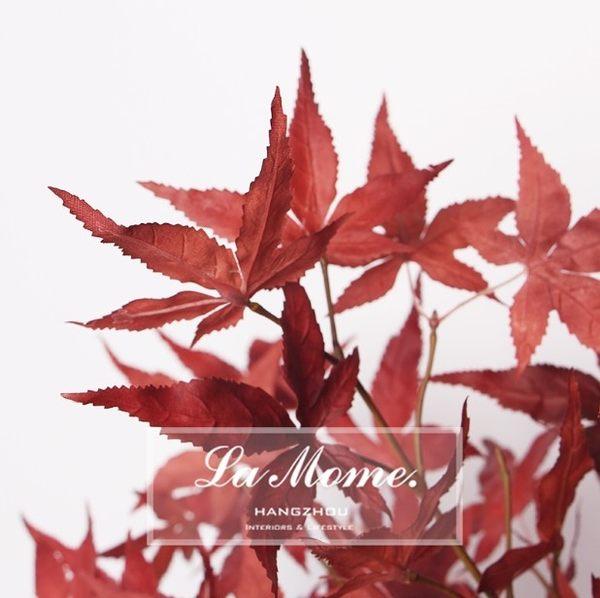 [協貿國際]中式新古典高端仿真花/暗紅色秋色紅楓葉樹葉/花藝配草/假花絹花