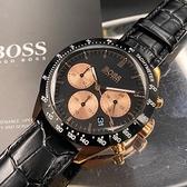 星晴錶業-BOSS伯斯男女通用錶,編號HB1513580,42mm玫瑰金錶殼,深黑色錶帶款