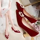 婚鞋 婚鞋女2021年春節新款新娘鞋中式秀禾服紅色高跟鞋主婚紗結婚鞋子  美物 99免運