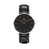 【Daniel Wellington】CLASSIC瑞典時尚品牌經典簡約真皮腕錶-極致黑x玫金-40mm/DW00100129/原廠兩年保固