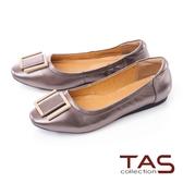 TAS方形扣飾牛皮娃娃鞋-金屬灰