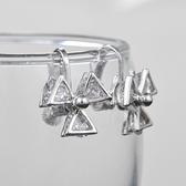耳環 925純銀 鑲鑽-三葉草夾式生日情人節禮物女飾品2色73hz81【時尚巴黎】