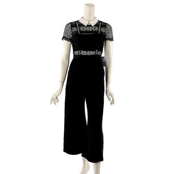 【self-portrait】短袖白領蕾絲寬褲裝 (黑色) SP10069J/BLACKWHITE