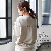 ❖ Autumn ❖ 後刺繡標語設計素面寬鬆長袖上衣 - E hyphen world gallery