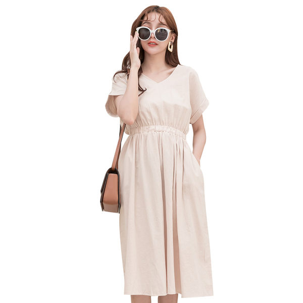 東京著衣【YOCO】YOCO-甜蜜優雅高含棉V領腰鬆緊棉麻洋裝-S.M.L(190851)