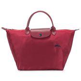 Longchamp 1623 LE PLIAGE 奔馬刺繡短提把中型尼龍摺疊水餃包(石榴紅)480207-C87