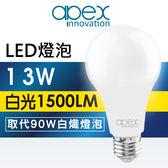 (超值多入優惠)【apex】13WLED燈泡白光