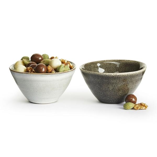 瑞典sagaform Nature炻釉彩小餐碗(2入)-淺灰/深灰