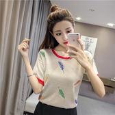 嚴選鉅惠限時八折正韓洋裝2018夏季韓版新款寬鬆薄款刺繡冰絲T恤女短袖