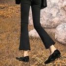 黑色微喇牛仔褲女高腰2020秋冬季新款加絨直筒顯瘦九分喇叭褲子 果果輕時尚