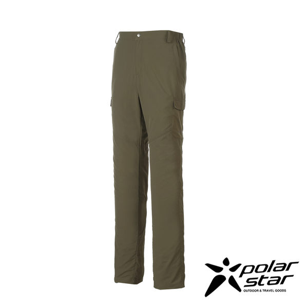 PolarStar 男 抗UV排汗多口袋長褲『綠卡其』P17315 西裝褲│休閒褲│吸濕排汗│直筒褲│大尺碼3L