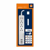特力屋 3P 一開三插座 USB:4.2A 3孔延長線1.5M