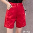 五分牛仔褲 牛仔五分褲女寬鬆直筒短褲新款四5分夏季中褲外穿高腰顯瘦薄 韓菲兒