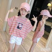 女童短袖T恤2019新款夏裝韓版兒童夏季露肩上衣中大童半袖洋氣潮 FR9517『俏美人大尺碼』
