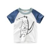 2019 夏款童裝韓版男童短袖T恤 兒童服裝 潮寶寶衣服挖掘恐龍