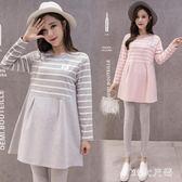 大碼孕婦連衣裙 新款時尚寬鬆條紋長袖上衣孕婦連衣裙 QQ8291『MG大尺碼』