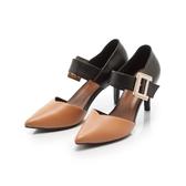 【Fair Lady】優雅小姐Miss Elegant 拼接金屬扣環繫帶尖頭高跟鞋 沙漠棕
