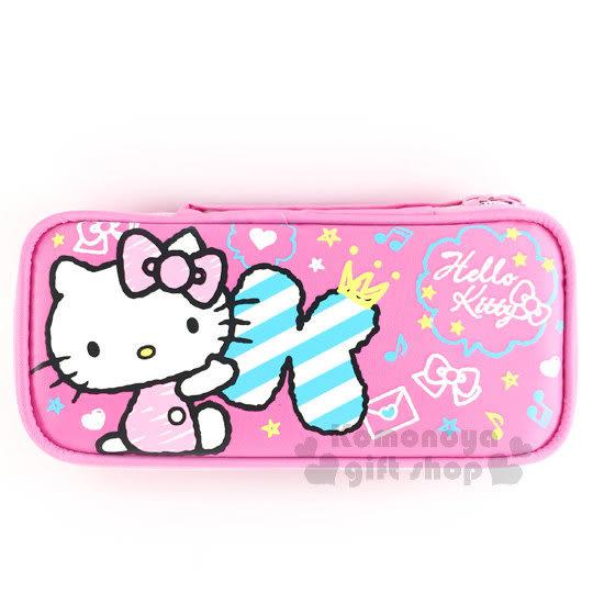 〔小禮堂﹞Hello Kitty 布質雙拉鍊全開式筆袋《粉.側坐.字母k.塗鴉》 4713791-96966