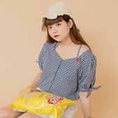 Poly Lulu 清新野餐格紋刺繡櫻桃襯衫-深藍【91040069】