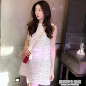 蕾絲洋裝女2020夏新款法國小眾氣質顯瘦中長款無袖打底背心裙子 中秋節全館免運