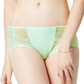 思薇爾-春舞系列M-XL蕾絲低腰平口內褲(甘露綠)