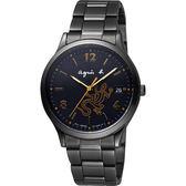 agnes b. 巴黎城市戀人手錶-黑x金時標/36mm V157-0BR0SD(BZ7003P1)
