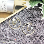 現貨 韓國冷淡風氣質金屬感立體幾何圓圈珍珠925銀針耳環 S93534 批發價 Danica 韓系飾品 韓國連線