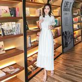 洋裝 長裙 連身裙 白色連衣裙仙女氣質顯瘦小清新2019夏季新款韓版復古中長款裙子女