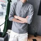 條紋七分袖寸襯衫男士韓版小清新立領短袖襯...