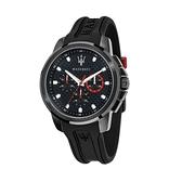 【Maserati 瑪莎拉蒂】SFIDA時尚三眼設計矽膠腕錶-武士黑/R8851123007/台灣總代理公司貨享兩年保固