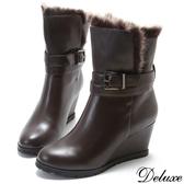 【Deluxe】全真皮雪國暖暖兔毛造型扣帶楔型短靴(咖啡)