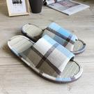 小日常-真草蓆室內拖鞋-英倫格紋-水藍