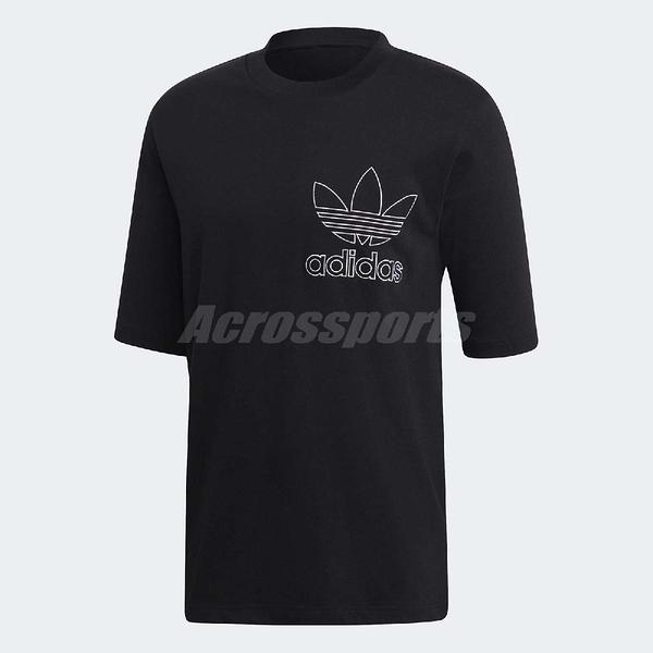 adidas 短袖T恤 Originals Outline Tee 男款 黑 白 經典三葉草元素 【PUMP306】 DV1563
