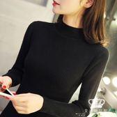 針織衫 修身加厚半高領套頭短款女長袖秋冬韓版毛衣