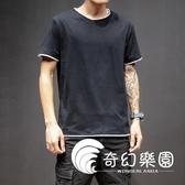 短袖T恤-男裝寬鬆短袖T恤男士日繫圓領純棉運動假兩件上衣潮流-奇幻樂園
