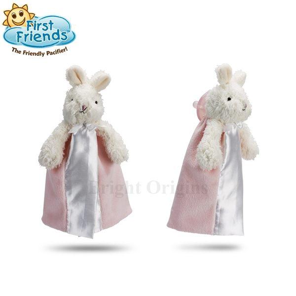 美國First Friend 奶嘴安撫娃娃(含1個奶嘴)-粉色兔子