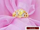 9999純金 黃金金飾 三色金 花瓣 訂婚 結婚 婚戒 黃金戒指