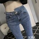 藍色牛仔褲女2020年春秋新款潮網紅設計感高腰顯瘦小腳褲九分褲子 3C優購