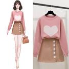 VK精品服飾 韓國風時尚愛心毛衣毛呢套裝長袖裙裝