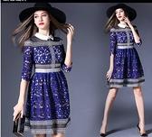 現貨寶藍M蕾絲洋裝連身裙禮服16981