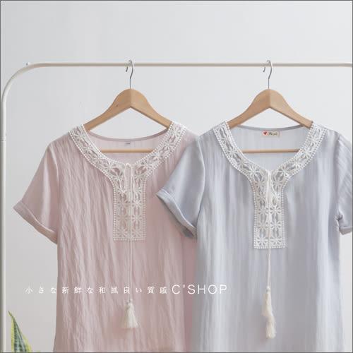 棉麻衫  領綁帶蕾絲裝飾絲棉上衣  三色-小C館日系