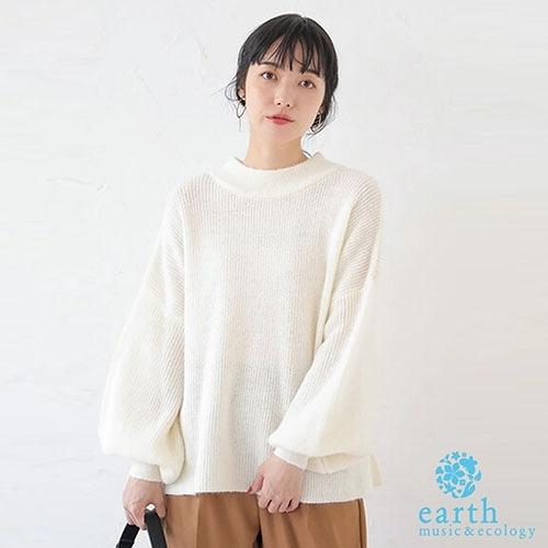「Spring」蝴蝶綁結蓬袖剪裁針織衫 - earth music&ecology