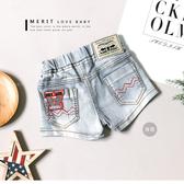 美式字母皮革 牛仔短褲丹寧褲洗白英文車線復古女童哎北比